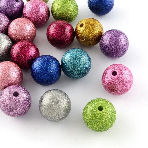 100pcs Mixte Coloré Acrylique Perles Paillettes Poudre demi-percé Rond 16 mm PERLES