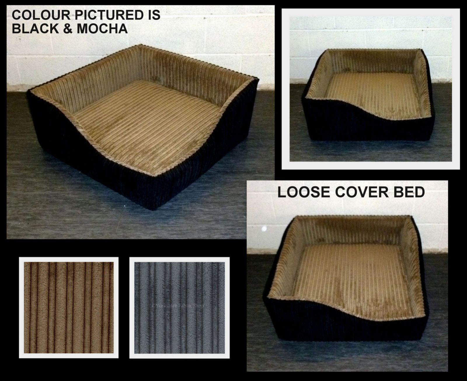 MEDIUM ZIPPY CORNER DOG BED WASHABLE JUMBO CORD 5  DEEP MATTRESS LOOSE COVERS