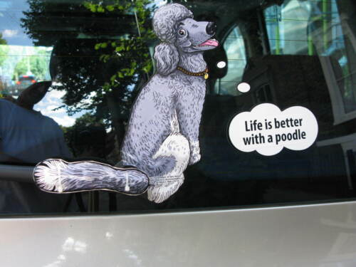 POODLE LOVER DOG CAR STICKER NOVELTY GIFT COLLECTABLE WITH WIPER WAGGING TAIL