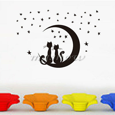 DIY Removable PVC Art Quote Stars Cats Wall Sticker Decal Mural Home Room Decor