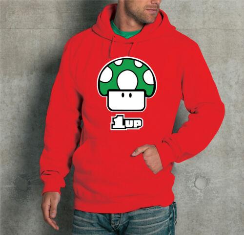 "FELPA CON CAPPUCCIO UNISEX /""SUPER MARIO 1UP/"" T-shirt DONNA UOMO"