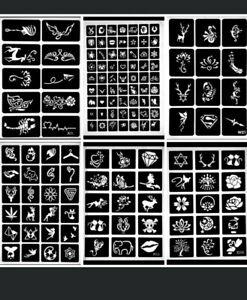 30er-Uberraschungsset-Henna-Schablonen-fuer-Henna-Tattoo-verschiedene-Groessen