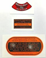 1937-1954 Dodge And Fargo Truck Engine Decal Set