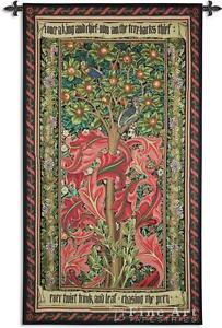 TREE OF LIFE TAPESTRY * RED William Morris Woodpecker Fruit Leaves WALL HANGING