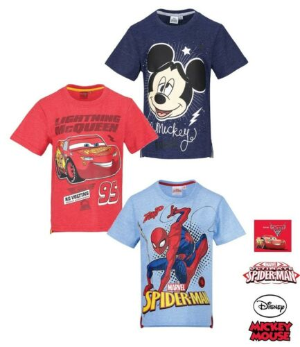 Boys Kids Spiderman Mickey Cars Short Sleeve Tee Tshirt Top T-shirt Age 3-8 yrs