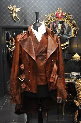 Impero Mens New Leather Steampunk Dieselpunk Tailcoat Mourning Jacket Waistcoat