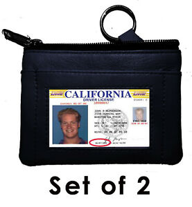 2pcs-Black-Leather-Mens-Coin-Purse-Change-ID-Holder-Key-chain-Wallet-U-S-Seller