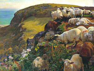 Flock-of-sheep-on-the-hill-Giclee-Art-HD-Printed-on-canvas-for-living-room-L2598