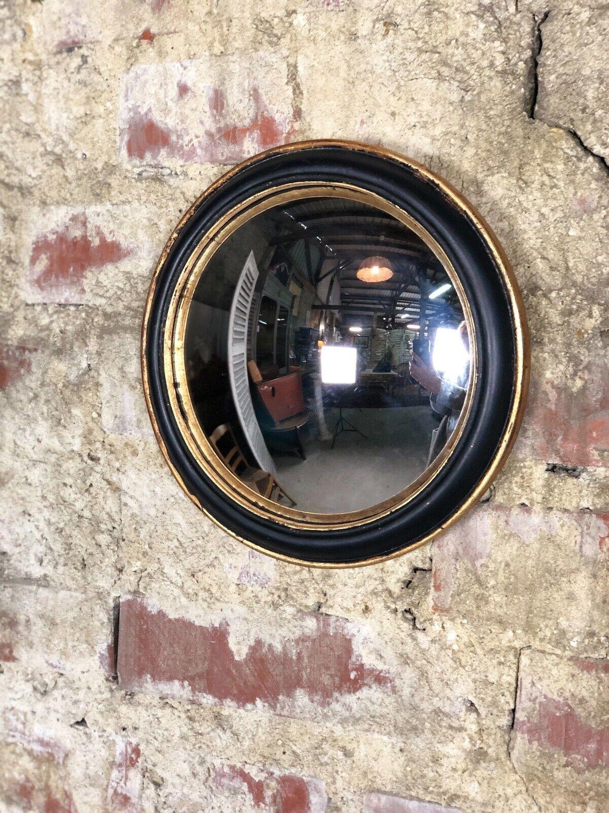 Glace   miroir rond  new  noir et patine dorée avec oeil de sorcière diam 23 cm