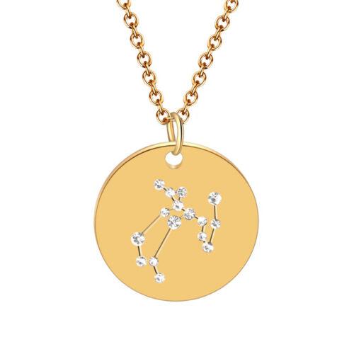 Femme Titane Acier 12 Constellations ronde Collier Pendentif Tour de Cou Bijoux S