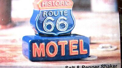 Active Nib Salt & Pepper Shaker...route 66...motel Sign...one Of A Kind Buy One Get One Free