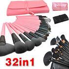 32pcs Professional Makeup Brushes Set Cosmetic Tool Kit Leather Case Goat Hair