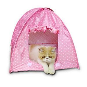 Pet Kitten Cat Kitten Mini Nylon Camp Tent Bed Play House Sun Shelter Pink