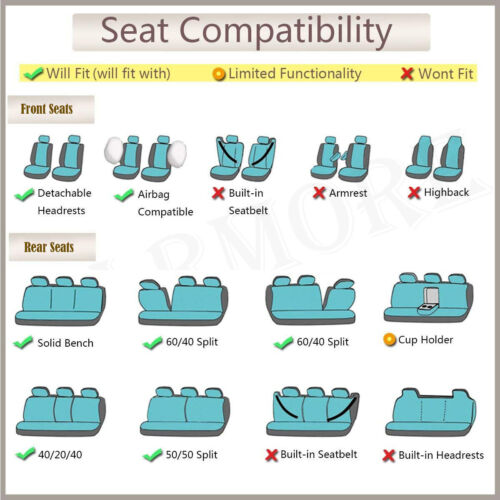 Universal Car Seat Covers Polyester Butterfly Embroidery Black /& Purple SUV