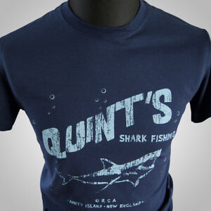 Quints-Shark-Fishing-Movie-Themed-Retro-T-Shirt-Jaws-Amity-Film-Tee-70-039-s