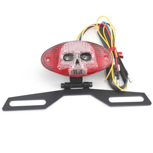 Motorcycle Universal Skull LED Brake Tail Indicator Red Light For Custom Harley