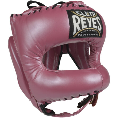 Pink Cleto Reyes Traditional Leather Boxing Headgear with Nylon Face Bar