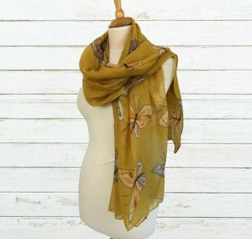 Ladies Scarf Pashmina Mustard Yellow Large Butterfly Print Wrap Sarong Oversize