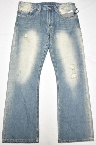 Buffalo David Bitton Jeans Men/'s King Slim Boot Denim Sanded And Distressed P139