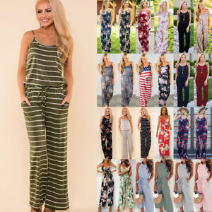 7b3b472a960 Details about UK Boho Womens Floral Holiday Long Playsuits Dress Beach  Jumpsuit 6-20 Plus Size