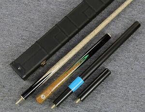 034-Grand-Cues-034-58-034-3-4-Jointed-Ash-Shaft-Black-Ebony-Handmade-Snooker-Cue-Set-YP43