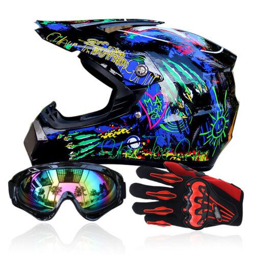 S-XL Motocross Helmet Goggles+Gloves Off Road For Motocross ATV Dirt Bike NBTS