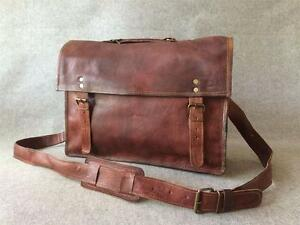 Handmade-Leather-15-034-Padded-Laptop-Satchel-Bag-SL-Vintage-Billy-Goat-Designs
