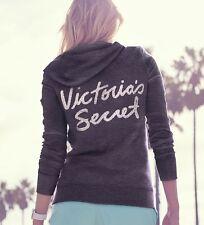 Victoria's Secret Dark Gray Bling Angel Wing Zipper Pull Fleece Hoodie, Sz XS