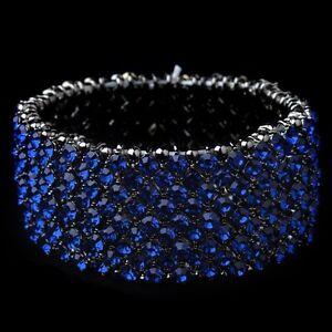Image Is Loading Brides Hemae Blue Rhinestone Stretch Bracelet Bridal Wedding