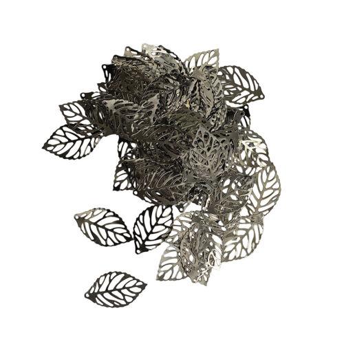 100pcs METAL Hollow Out tree leaf Charms Bijoux Pendentif Craft 23 x 13 mm