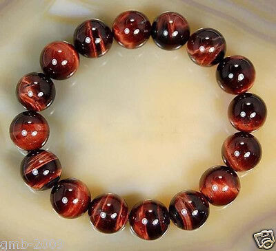 Rare Natural 12mm Red Tiger Eye Stone Gemstone Round Beads Bracelet