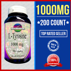 Details about L-Tyrosine 500mg +500=1000 Energy-Chronic  Fatigue-Focus-Depression 200 caps USA