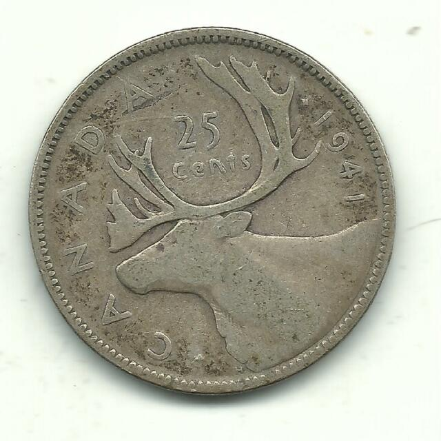 A VERY NICE VINTAGE 1941 CANADA 25 CENTS SILVER COIN-JAN605
