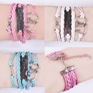 New-Hot-infinity-One-direction-Heart-Leather-Cute-Charm-Bracelet-plated-Silver