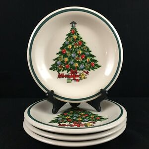 Set-of-4-VTG-Salad-Plates-by-Mount-Clemens-Pottery-Christmas-Tree-Holiday-Green