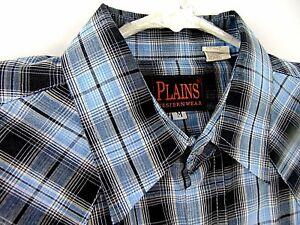 Plains-Mens-Western-Shirt-Size-Medium-Blue-Black-Plaid-Pearl-Snap-Long-Sleeve