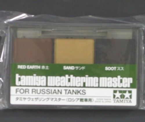 Tamiya Weathering Master Set for Russian Tanks Colors: Red Earth, Sand, Soot