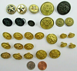 Mixed-Lot-of-Mostly-Brass-Military-Buttons-Navy-Fouled-Anchor-Plus-4-Cuff-Links