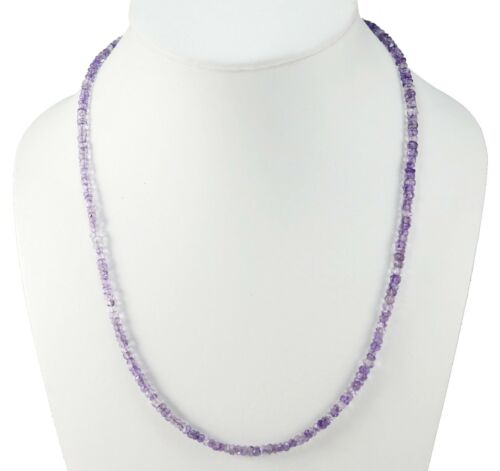 Handmade Amethyst Gemstone 3-4MM Rondelle Faceted Beads Beaded Jewelry Necklace