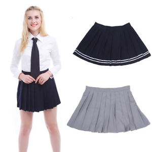 3b5db92626e9 Women JK School Girl Pleated Skirt Tennis Plain Sailor Short Mini ...