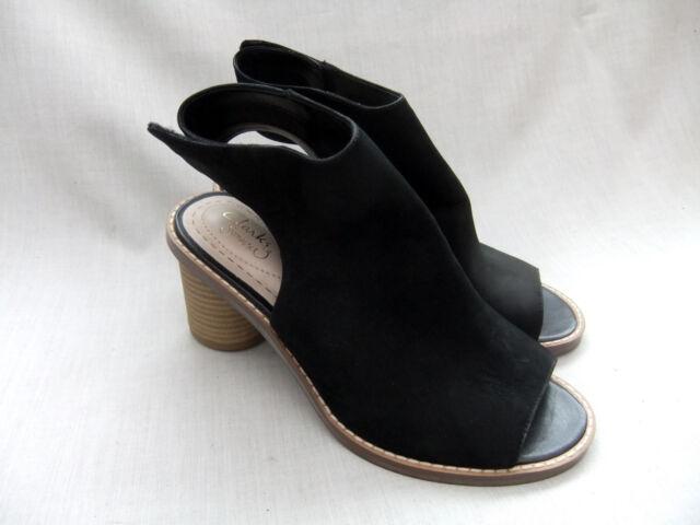 d86a9e188d7bc8 Clarks Ladies Glacier Charm Black Nubuck Leather PEEP Toe Shoes UK ...