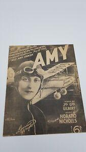 1930 Vintage Aviation Amy Johnson Music Sheet Nicholls Gilbert England Australia