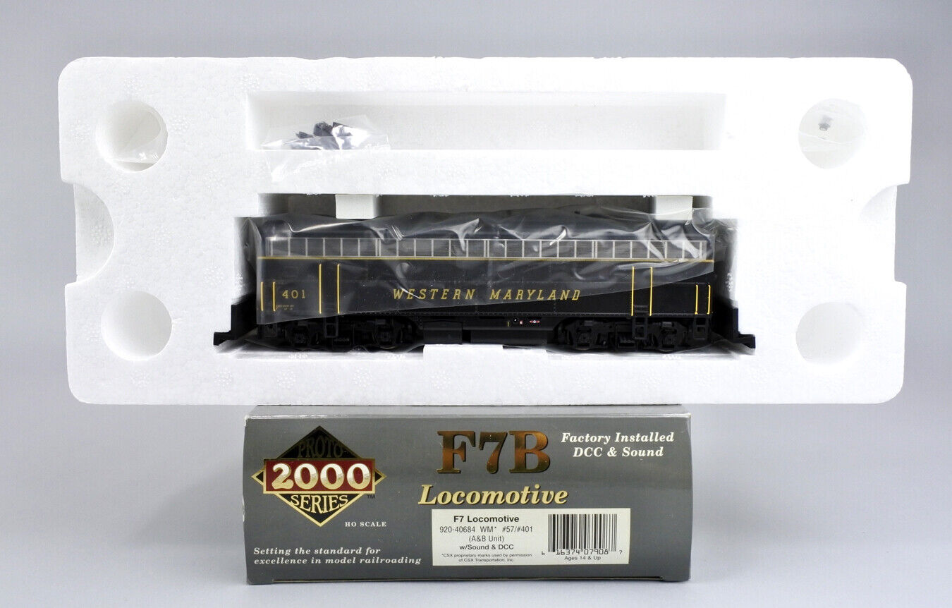 PROTO 2000 HO SCALE 920 40684 WESTERN MARYLAND POWErot F7B  401 QSI SOUND