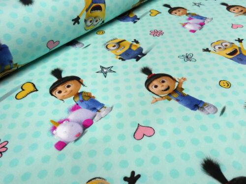 Stoff Baumwolle Jersey Minions Einhorn Agnes gepunktet türkis Kinderstoff