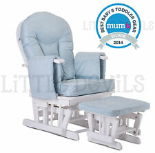 WHITE WOOD - BLUE SUPREMO BAMBINO Nursing Glider Rocking Maternity Chair Stool