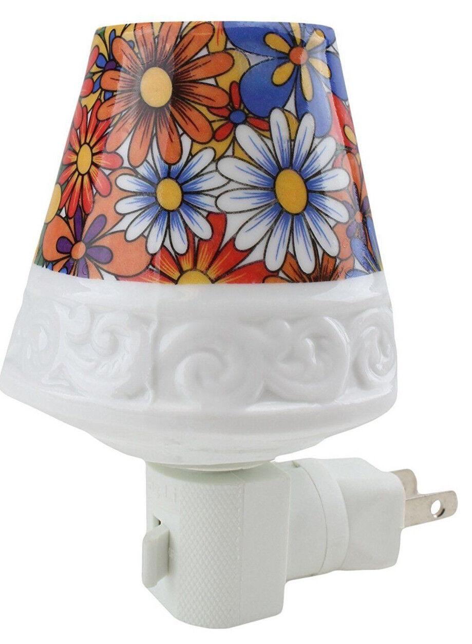 Ceramic Flower Lamp Plug In Night Light