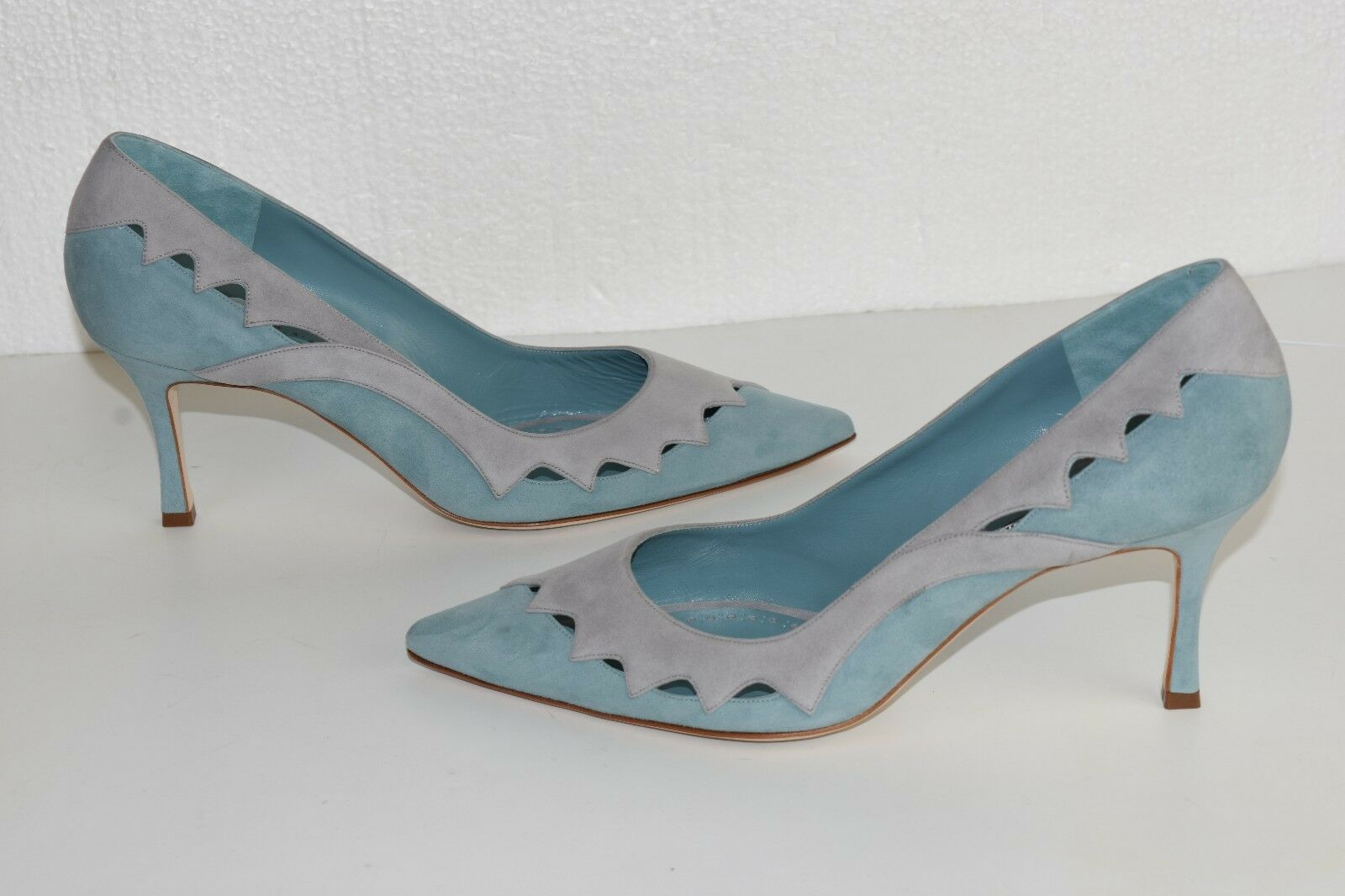 NEW Manolo Blahnik BB Pumps Suede Cut Outs Blue Grey Heels Shoes 40.5 41
