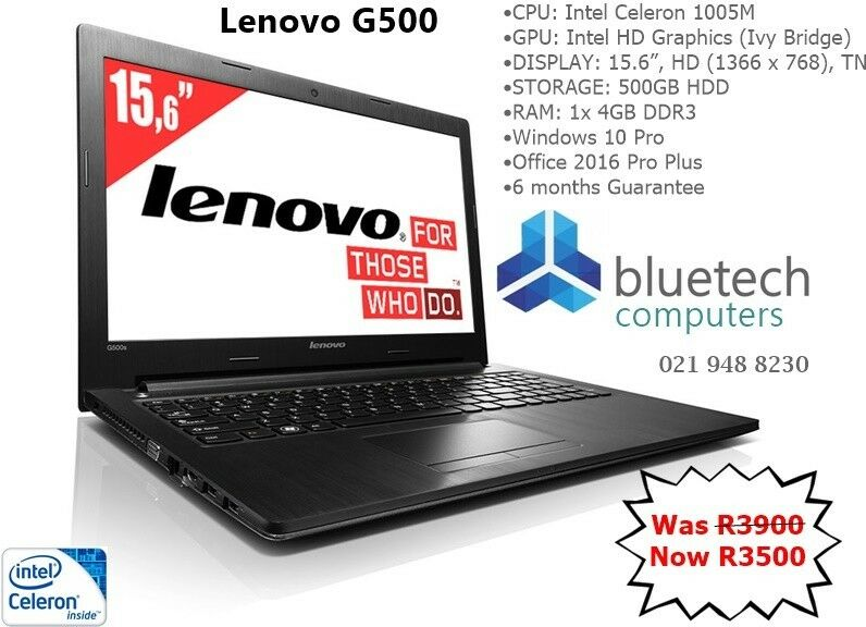 Lenovo G500 Laptop Intel Celeron 1005M- 4GB RAM- 500GB HDD - Bluetech  Computers | Bellville | Gumtree Classifieds South Africa | 220866130