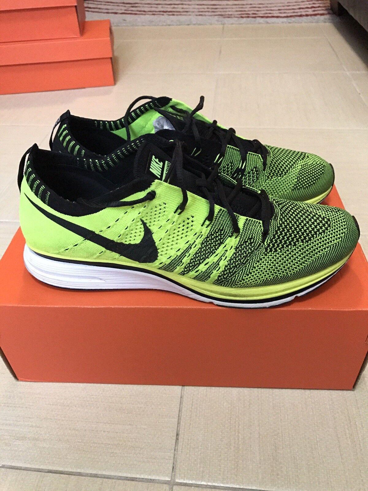 2012 Nike Flyknit Trainer Racer Volt Black Unpadded Olympics 532984-700 size 9