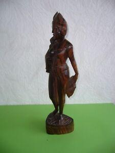 Holzfigur-Bali-Asien-Frau-barbusig-Holzskulptur-Skulptur-Holz-50-5-cm-70er-Jahre